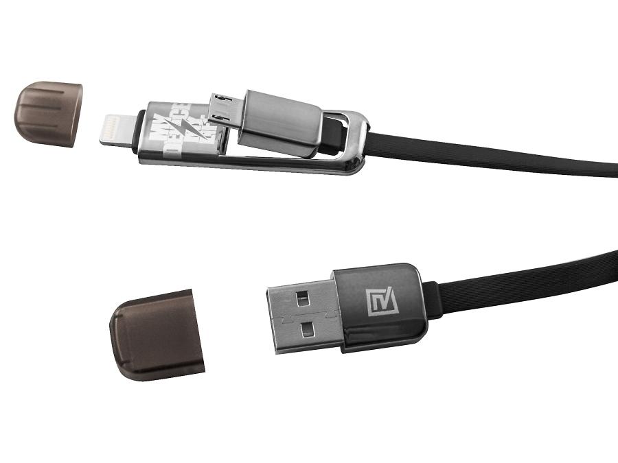 Кабель Remax черный (USB - lightningmicroUSB)