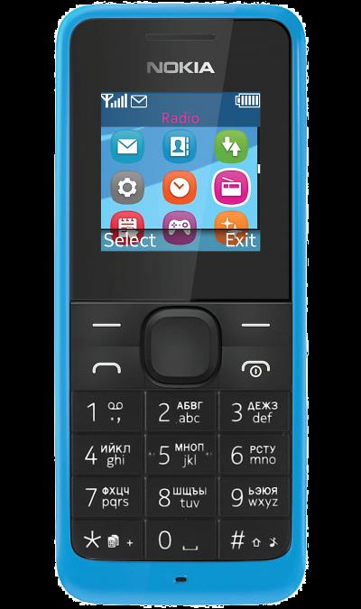 Nokia 105 Dual SimТелефоны<br>2G; Дисплей 65,5 тыс цв. 1.4; FM; Время работы 842 ч. / 12.5 ч.; Вес 70 г.<br><br>Colour: Синий