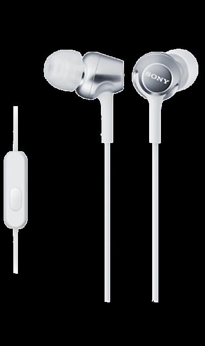 Проводная гарнитура Sony MDR-EX250AP, стерео (белая)Наушники и гарнитуры<br>Наушники-вкладыши MDR-EX250AP созданы для тех, кто вечно находится в движении. Удобный в использовании встроенный в кабель микрофон позволяет запросто отвечать на звонки, не вынимая смартфон из кармана или сумки. Завершив разговор можно легко вернуться к прослушиванию музыки благодаря встроенному в кабель пульту управления.<br><br>Colour: Белый