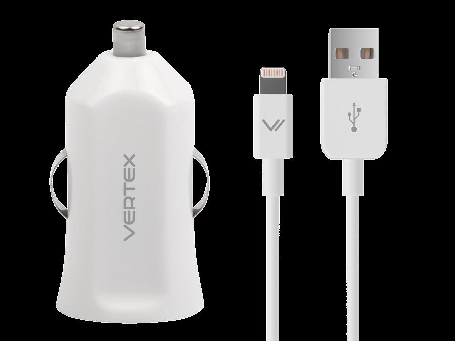 Зарядное устройство автомобильное Vertex с разъемами lightning/USB