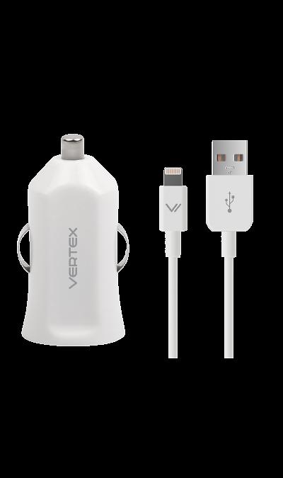 Зарядное устройство автомобильное Vertex с разъемами lightning/USBЗарядные устройства<br>Автомобильное зарядное устройство.<br>В комплект поставки входят: автомобильное з/у с разъемом USB, USB-кабель с разъемом lightning.<br><br>Colour: Белый