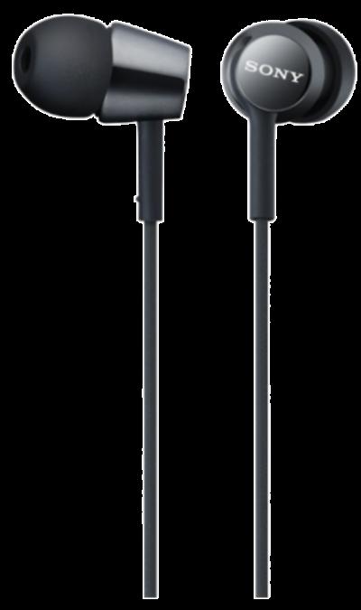 Наушники Sony MDR-EX150, стерео (черные)Наушники и гарнитуры<br>Изогнутые вкладыши наушников удобны по размеру, надежно держатся в ухе и обеспечивают глубокие басы.<br><br>Colour: Черный