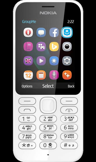 Nokia 222 Dual SimТелефоны<br>2G; Дисплей 262,1 тыс цв. 2.4; Камера 2 Mpix; Разъем для карт памяти; MP3, FM; Время работы 504 ч. / 20.0 ч.; Вес 79 г.<br><br>Colour: Белый