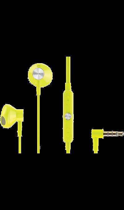 Проводная гарнитура Sony STH30, стерео (лайм)Наушники и гарнитуры<br>Наушники-вкладыши Sony STH30 созданы для тех, кто вечно находится в движении. Удобный в использовании встроенный в кабель микрофон позволяет запросто отвечать на звонки, не вынимая смартфон из кармана или сумки. Завершив разговор можно легко вернуться к прослушиванию музыки благодаря встроенному в кабель пульту управления.<br><br>Colour: Желтый