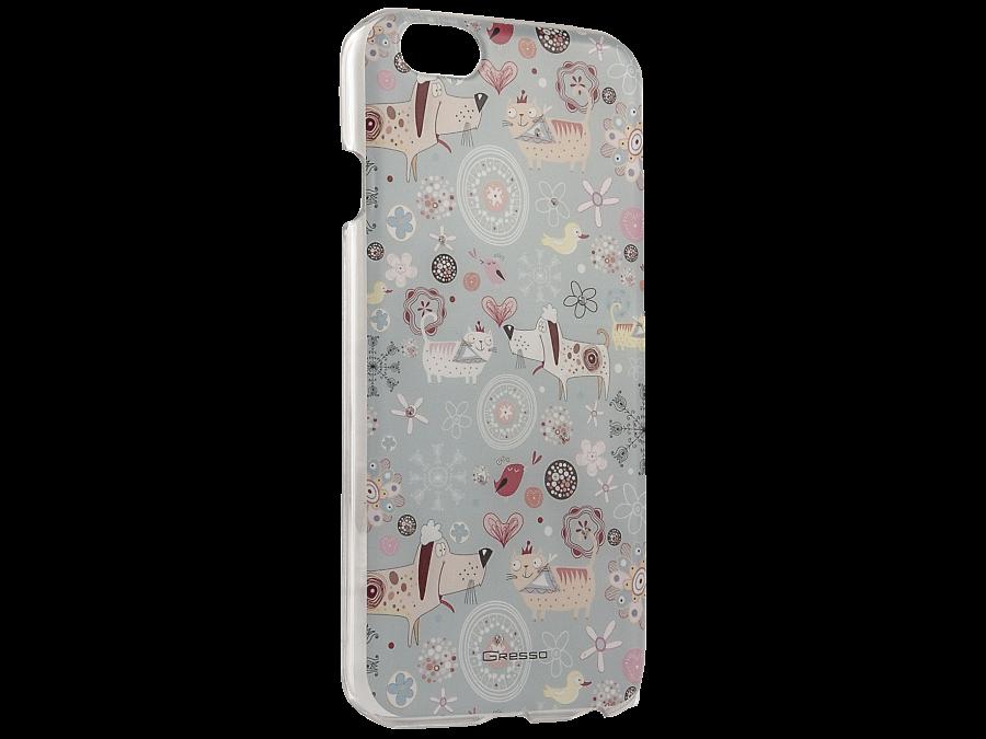 Чехол-крышка Gresso Животные для Apple iPhone 6/6S, пластик, голубой