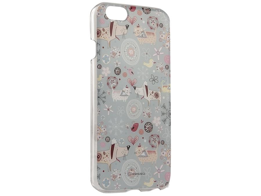 Чехол-крышка Gresso Животные для iPhone 6/6S, пластик, голубой