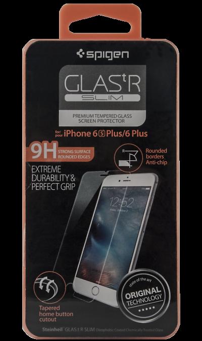 Защитное стекло Spigen для Apple iPhone 6 PlusЗащитные стекла и пленки<br>Качественное защитное стекло прекрасно защищает дисплей от царапин и других следов механического воздействия. Оно не содержит клеевого слоя и крепится на дисплей благодаря эффекту электростатического притяжения.<br>