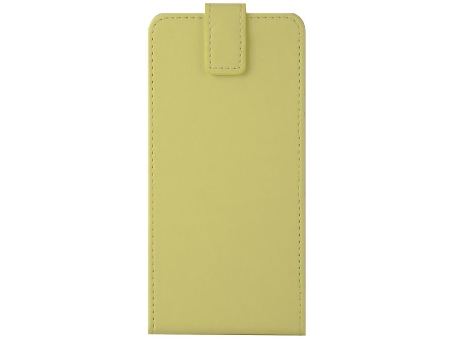 Чехол-книжка FashionTouch универсальный 4.5-5.2'', кожзам, желтый