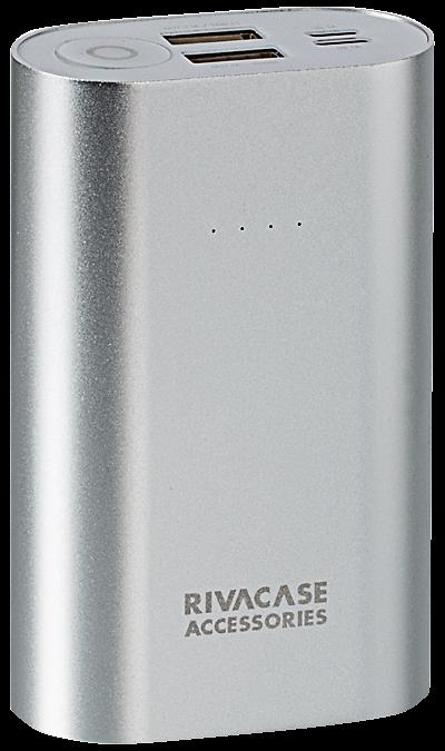Аккумулятор RIVACASE VA1010, Li-Ion, 10000 мАч (портативный)Аккумуляторы внешние<br>Литий-ионный внешний аккумулятор емкостью 10000мАч.<br>Два входа для заряда аккумуляторной батареи через кабель с Micro-USB разъемом или через оригинальный кабель Apple Lightning.<br>Два USB выхода с суммарным током до 3.1А, позволяющие быстро заряжать 2 устройства одновременно.<br>Совместимость с наиболее популярными мобильными устройствами, в том числе и с iPhone, iPad.<br>Микро-USB кабель для зарядки и синхронизации в комплекте.<br>Автоматическое включение/выключение. Подключите ...<br><br>Colour: Серебристый