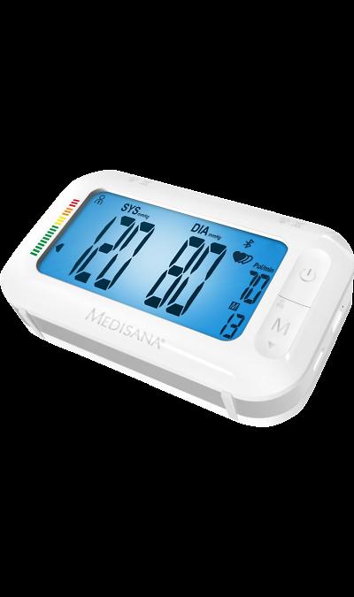 Тонометр наплечный Medisana BU575 ConnectУстройства для здоровья<br>Простой и комфортный в применении плечевой тонометр Medisana BU 575 Connect сделает процедуру измерения артериального давления максимально комфортным. Благодаря использованию в работе микропроцессора прибору удается быстрее определить систолу, избегая чрезмерного нагнетания воздуха в манжету.<br><br>Аппарат оснащен функцией определения нерегулярных сердечных сокращений, помогающей вычислить аритмию на ранних стадиях, что сыграет важную роль для успешной коррекции такого состояния. Размеры дисплея ...<br><br>Colour: Белый