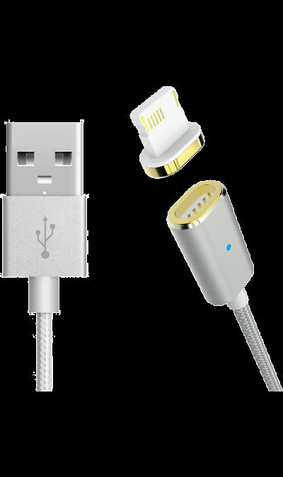 Магнитный кабель Partner Lightning (серебристый)Кабели и адаптеры<br>Обеспечивает надежное, легкое и безопасное подключение и отключение благодаря использованию магнитной конструкции штекера.<br>Имеет повышенный срок службы благодаря наличию износостойкой защитной оплетки из нейлона. <br>Поддерживает зарядку током до 2,1А без потери мощности благодаря использованию медного проводника сечением 24AWG<br><br>Colour: Серебристый