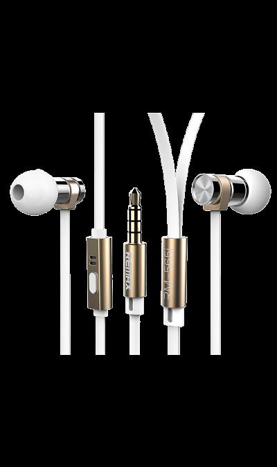 Проводная гарнитура Remax 565i, стерео (золотистая)Наушники и гарнитуры<br>Удобный в использовании встроенный в кабель микрофон позволяет запросто отвечать на звонки, не вынимая смартфон из кармана или сумки. Завершив разговор можно легко вернуться к прослушиванию музыки благодаря встроенному в кабель пульту управления.<br><br>Colour: Белый