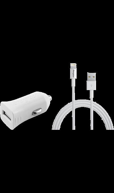 Зарядное устройство автомобильное Energizer MFI 2.4A с разъемом Lightning (белое)Зарядные устройства<br>Автомобильное зарядное устройство Energizer можно использовать для зарядки аккумуляторов аппаратов компании Apple с разъемом Lightning.<br><br>Colour: Белый
