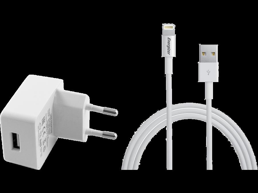 Зарядное устройство сетевое Energizer с разъемом Lightning MFI 2.4A (белое)