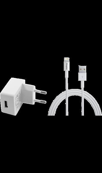 Зарядное устройство сетевое Energizer с разъемом Lightning MFI 2.4A  (белое)Зарядные устройства<br>Оригинальное cетевое зарядное устройство Energizer можно использовать для зарядки аккумуляторов аппаратов компании Apple с разъемом Lightning.<br><br>Colour: Белый