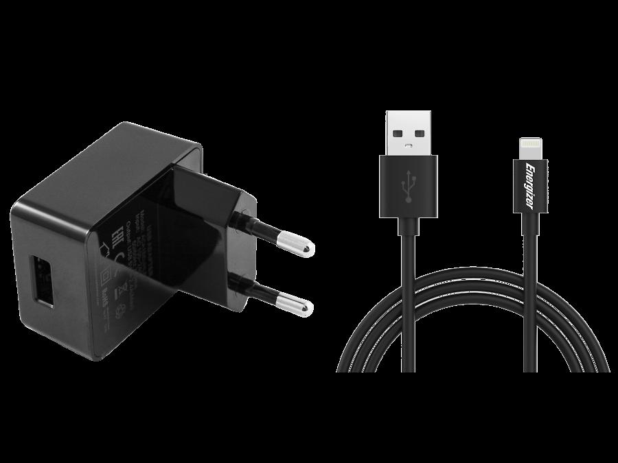 Зарядное устройство сетевое Energizer с разъемом Lightning MFI 2.4A (черное)