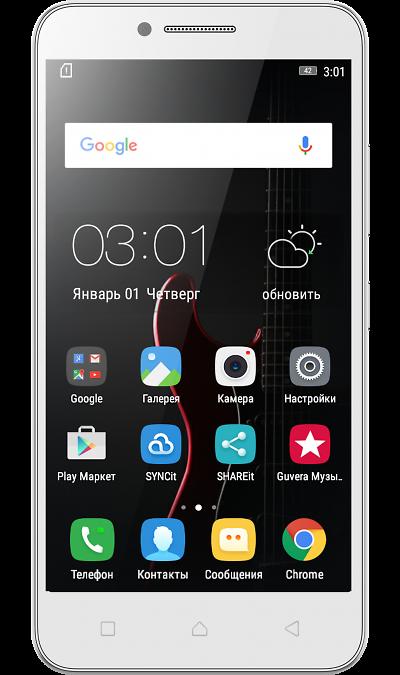 Lenovo Vibe CСмартфоны<br>2G, 3G, 4G, Wi-Fi; ОС Android; Камера 5 Mpix; Разъем для карт памяти; MP3, FM,  GPS / ГЛОНАСС; Время работы 552 ч. / 10.0 ч.; Вес 166 г.<br><br>Colour: Белый