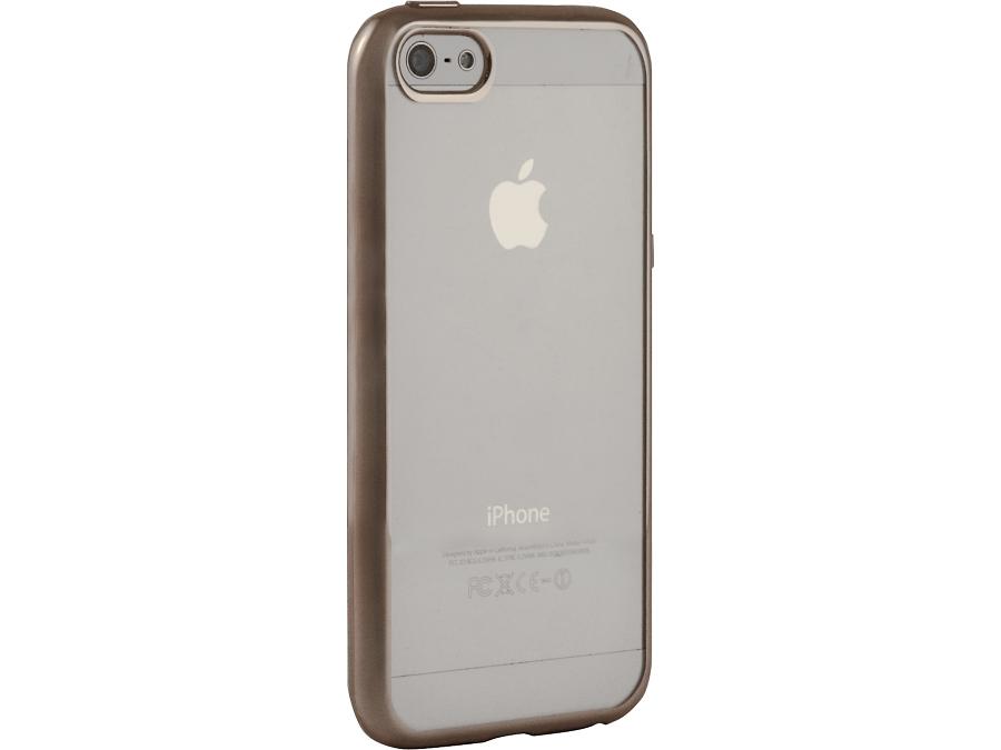 Чехол-крышка Gresso для iPhone 5/5S, силикон, золотистый (с рамкой)