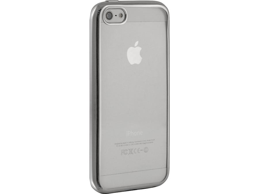 Чехол-крышка Gresso для iPhone 5/5S, силикон, серебристый (с рамкой)