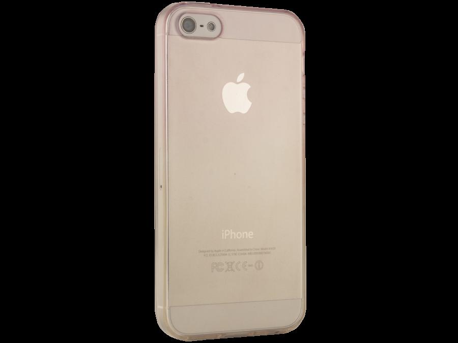 Чехол-крышка Liberty Project для Apple iPhone 5S жёлто-розовый, силикон, прозрачный