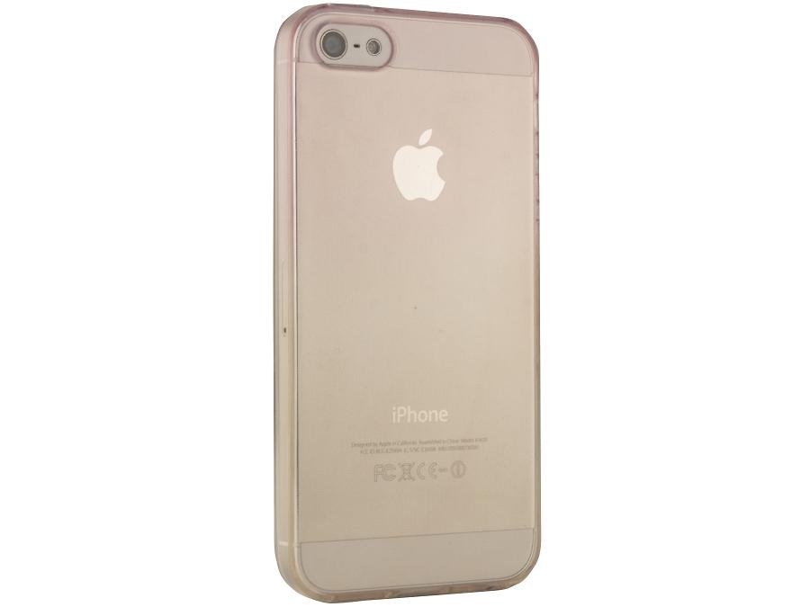 Чехол-крышка Liberty Project для iPhone 5S жёлто-розовый, силикон, прозрачный