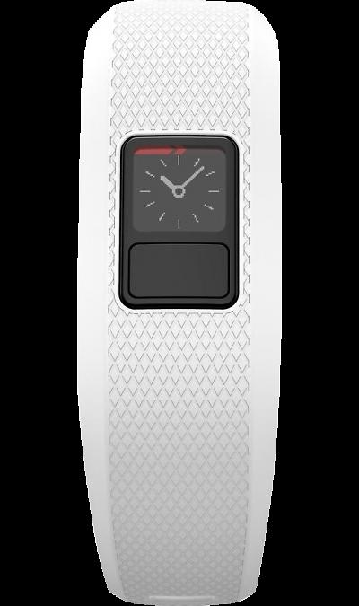 Фитнес-браслет Garmin Vivofit 3 (010-01608-07), белый (размер M)Фитнес-устройства<br>Устройство определяет ваши занятия.<br>Технология Move IQ определяет различные типы занятий (ходьбу, бег, поездки на велосипеде, плавание и тренировки на эллиптических тренажерах), которые затем можно просмотреть в приложении Garmin Connect. Теперь вам не нужно переключать часы или запускать новое действие - vivofit 3 автоматически определяет смену занятий, и вы можете переходить от ходьбы к бегу, не меняя никаких настроек. Зайдите в Garmin Connect с помощью мобильного приложения или ...<br><br>Colour: Белый