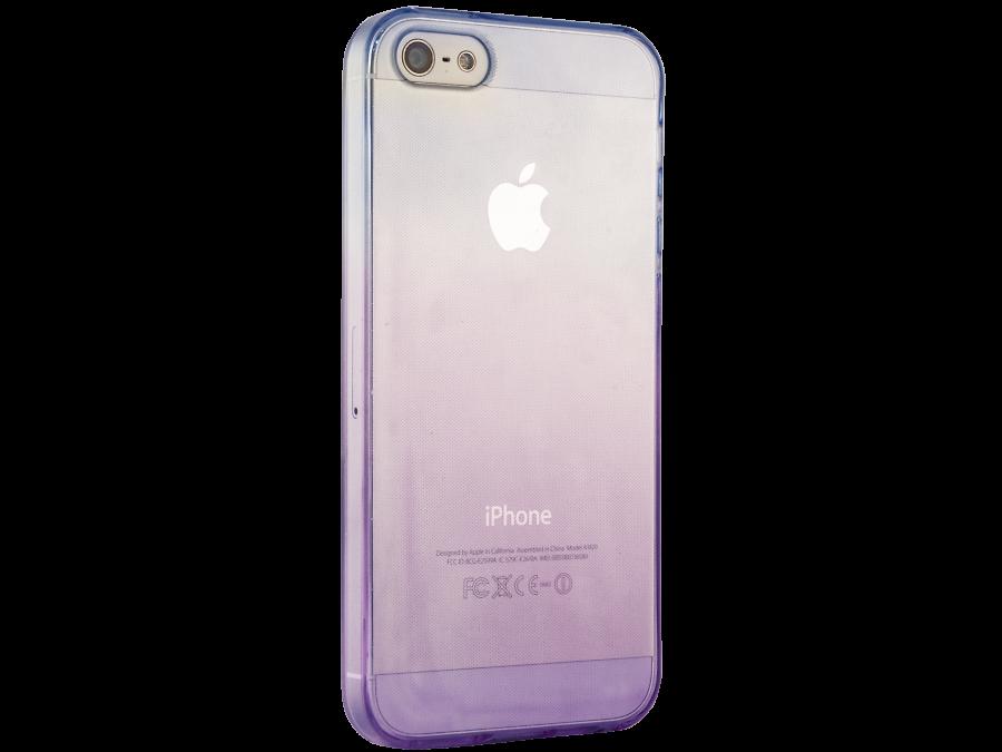 Чехол-крышка Liberty Project для Apple iPhone 5S фиолетово-голубой, силикон, прозрачный