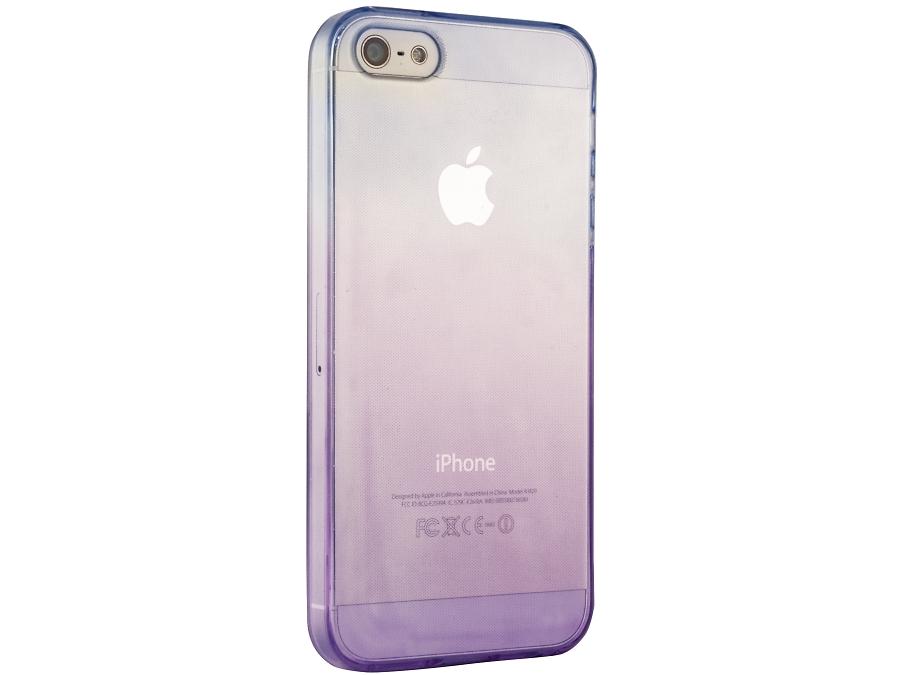 Чехол-крышка Liberty Project для iPhone 5S фиолетово-голубой, силикон, прозрачный