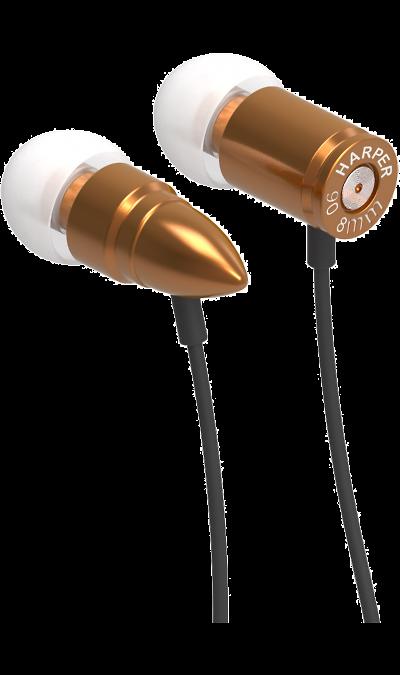 Проводная гарнитура HARPER HV-609, стерео (золотая)Наушники и гарнитуры<br>Стильная гарнитура, которая обеспечивает высококачественные низкие частоты и надежно держатся в ухе.<br><br>Чувствительность: 103 дБ;<br>Частотный диапазон: 20 - 20 кГц;<br>Максимальная входная мощность: 8 мВт;<br>Сопротивление: 16 Ом;<br>Материал корпуса: металл.<br><br>Colour: Золотистый