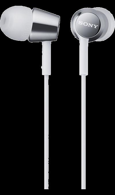 Наушники Sony MDREX150, стерео (белые)Наушники и гарнитуры<br>Динамики с неодимовыми магнитами и с диаметром диффузора 9 мм обеспечивают яркое энергичное звучание музыки, а диапазон воспроизводимых частот от 5 Гц до 24 кГц идеально подойдет для популярных стилей музыки.<br><br>Динамик: 9 мм, динамический, купольного типа (звуковая катушка CCAW);<br>Диапазон воспроизводимых частот: 5-24000 Гц;<br>Емкость: 100 мВт (IEC).<br><br>Colour: Белый