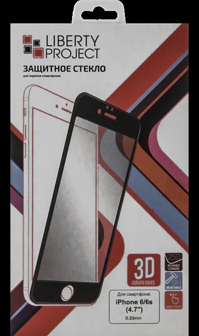 Защитное стекло Liberty Project 3D для Apple iPhone 6/6S черное (с рамкой)Защитные стекла и пленки<br>Качественное защитное стекло прекрасно защищает дисплей от царапин и других следов механического воздействия. Оно не содержит клеевого слоя и крепится на дисплей благодаря эффекту электростатического притяжения.<br>