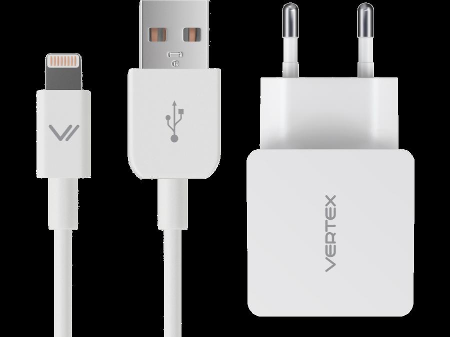 Зарядное устройство сетевое Vertex MFI 2.4A для iPod, iPhone iPad