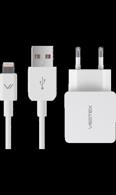 Зарядное устройство сетевое Vertex MFI 2.4A для iPod, iPhone iPadЗарядные устройства<br>Легкое и компактное сетевое зарядное устройство для устройств с разъемом Lightning.<br><br>Colour: Белый
