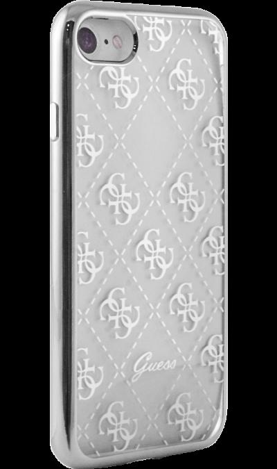 Guess Чехол-крышка Guess для Apple iPhone 7/8, силикон, серебро (Soft Case) чехол для iphone interstep для iphone x soft t metal adv красный