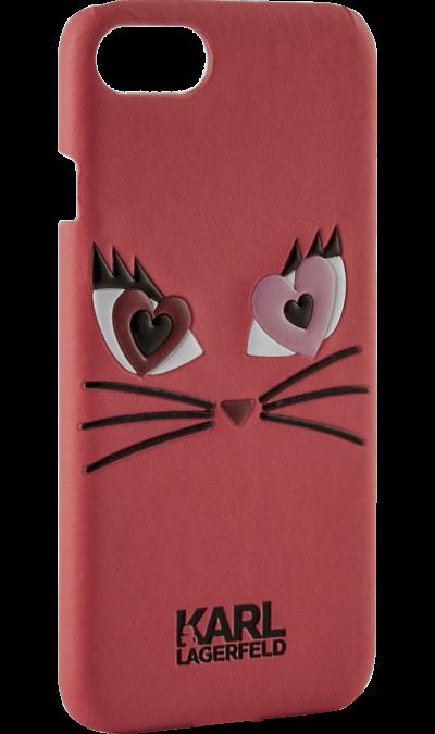 Чехол-крышка Karl Lagerfeld Коты для Apple iPhone 6/6S кожзам / пластик красный (Soft Case).