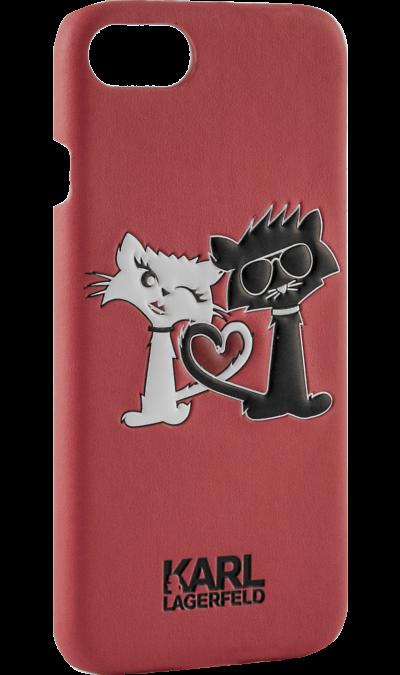 Karl Lagerfeld Чехол-крышка Karl Lagerfeld Коты Love для Apple iPhone 6/6S, кожзам / пластик, красный (Soft Case) чехол для iphone interstep для iphone x soft t metal adv красный