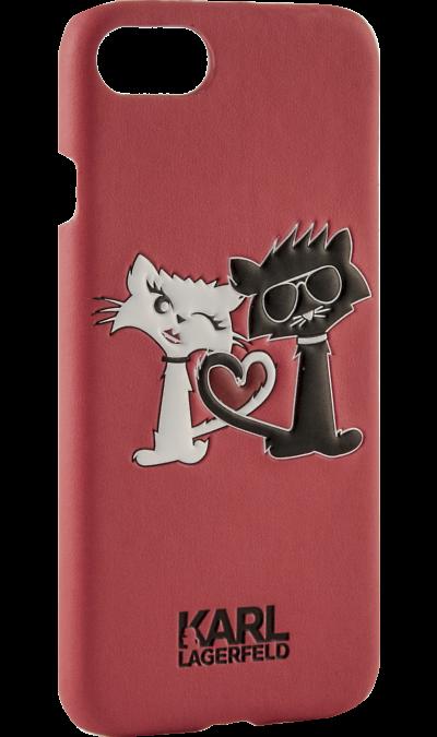 Чехол-крышка Karl Lagerfeld Коты Love для Apple iPhone 7/8, кожзам / пластик, красный (Soft Case)Чехлы и сумочки<br>Чехол Karl Lagerfeld  поможет не только защитить ваш iPhone 7 от повреждений, но и сделает обращение с ним более удобным, а сам аппарат будет выглядеть еще более элегантным.<br><br>Colour: Красный