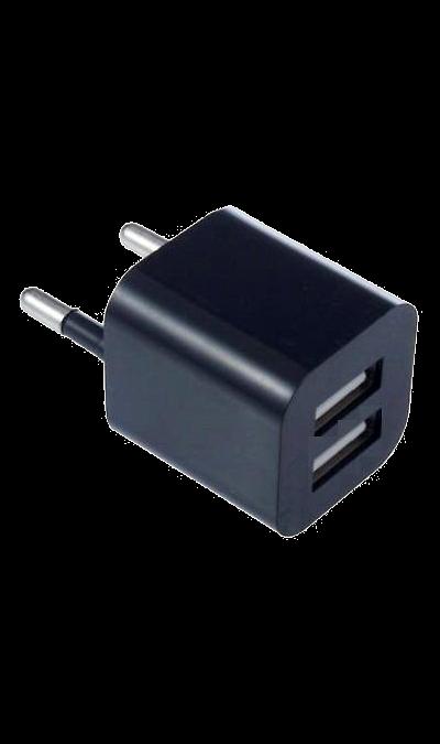 Зарядное устройство сетевое Oxion (2 USB разъема)Зарядные устройства<br>Сетевое зарядное устройство Oxion можно использовать для зарядки аккумуляторов аппаратов. USB кабель в комплект не входит.<br><br>Colour: Черный