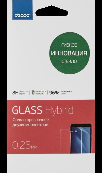Защитное стекло Deppa Hybrid для Apple iPhone 5/5s (прозрачное)Защитные стекла и пленки<br>Гибкое инновационное стекло двухкомпонентное. Качественное защитное стекло прекрасно защищает дисплей от царапин и других следов механического воздействия. Оно не содержит клеевого слоя и крепится на дисплей благодаря эффекту электростатического притяжения.<br>