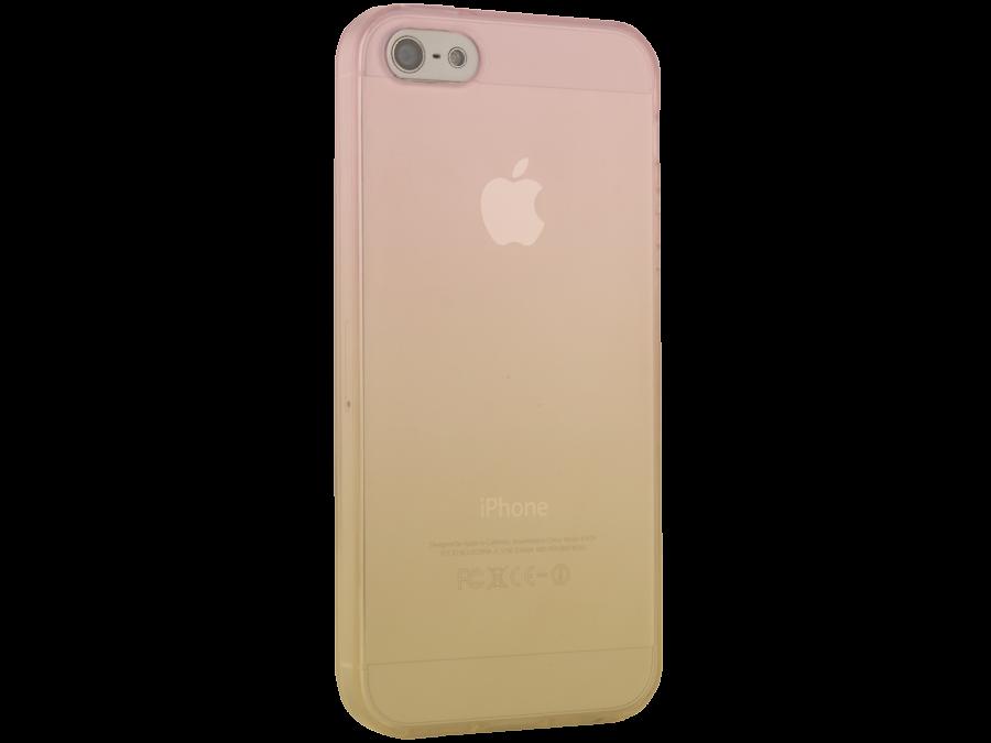 Чехол-крышка CASE для Apple iPhone 5/5S, жёлто-розовый, силикон, прозрачный