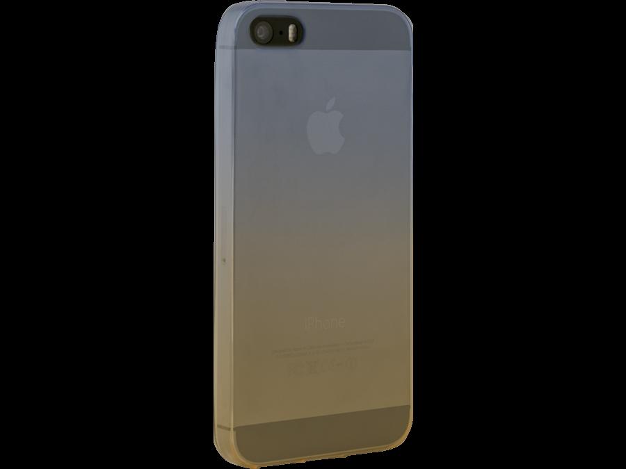 Чехол-крышка CASE для Apple iPhone 5/5S, жёлто-синий, силикон, прозрачный