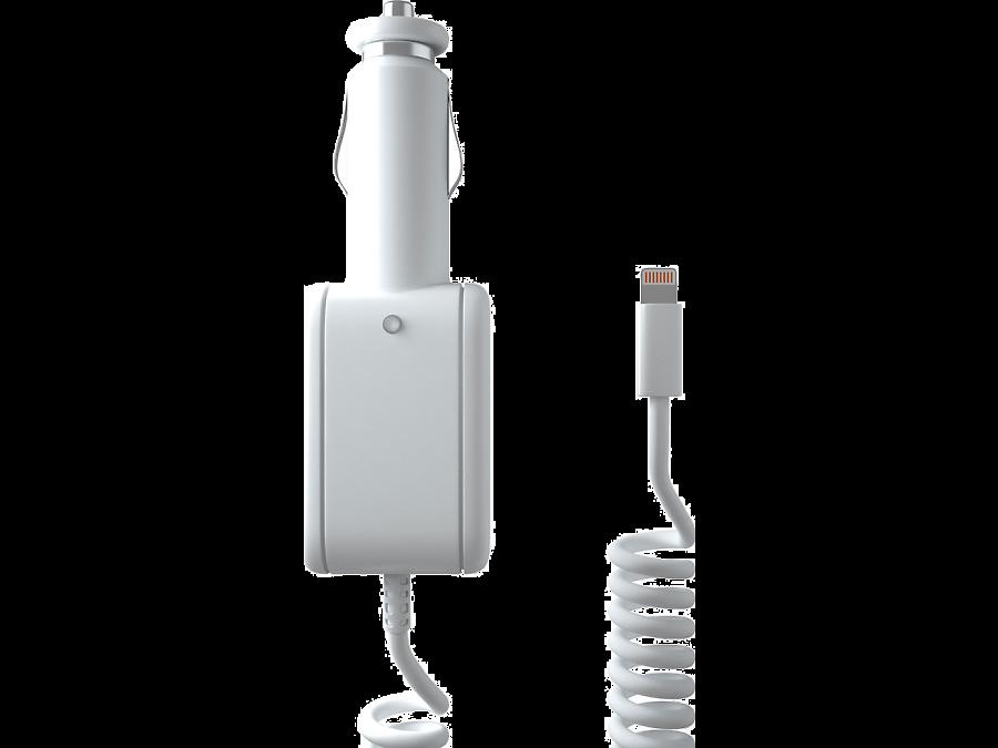 Зарядное устройство автомобильное Stark c разъемом Lightning (белое)