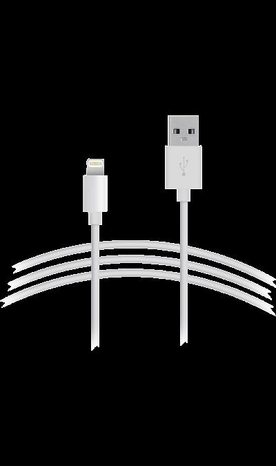 Кабель Continent USB - Lightning (белый)Кабели и адаптеры<br>Кабель для соединения через USB-порт ноутбука или компьютера с телефоном iPhone, плеерами или другими устройствами имеющими разъем Lightning.<br><br>Colour: Белый