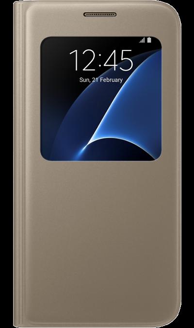 Чехол-книжка Samsung для Samsung Galaxy S7, полиуретан, золотистыйЧехлы и сумочки<br>Достойное исполнение.<br>Благодаря использованию высококачественных материалов, чехол S View Cover не только приятен на ощупь, но и достаточно надёжен, чтобы защитить ваш смартфон от повреждений.<br><br>Дополнительная защита.<br>Инновационная конструкция чехла обеспечивает дополнительную прочность для максимальной надёжности, которую вы по достоинству сможете оценить, когда в этом возникнет необходимость.<br><br>Мгновенное управление.<br>Быстро ответить на входящий ...<br><br>Colour: Золотистый
