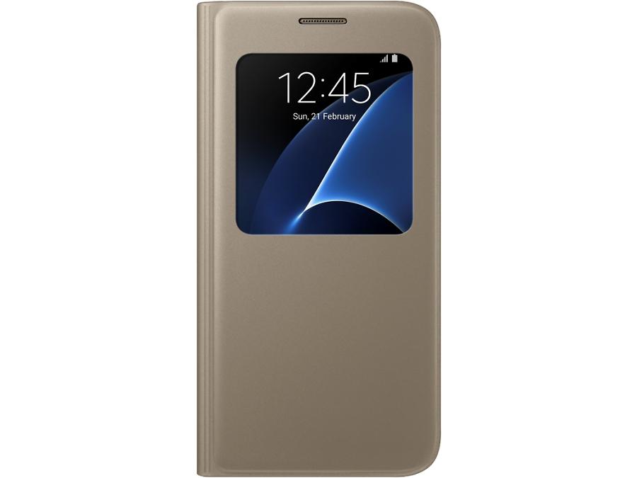 Чехол-книжка Samsung для Samsung Galaxy S7, полиуретан, золотистый