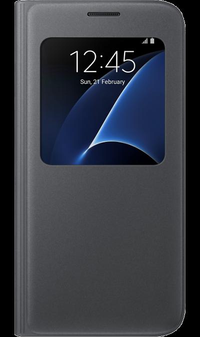 Чехол-книжка Samsung для Samsung Galaxy S7, полиуретан, черныйЧехлы и сумочки<br>Достойное исполнение.<br>Благодаря использованию высококачественных материалов, чехол S View Cover не только приятен на ощупь, но и достаточно надёжен, чтобы защитить ваш смартфон от повреждений.<br><br>Дополнительная защита.<br>Инновационная конструкция чехла обеспечивает дополнительную прочность для максимальной надёжности, которую вы по достоинству сможете оценить, когда в этом возникнет необходимость.<br><br>Мгновенное управление.<br>Быстро ответить на входящий ...<br><br>Colour: Черный