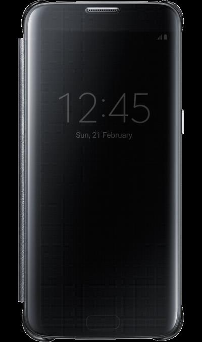 Samsung Чехол-книжка Samsung Clear View для Galaxy S7 Edge, полиуретан, черный чехлы для телефонов burkley кожаный чехол книжка samsung galaxy s7 edge