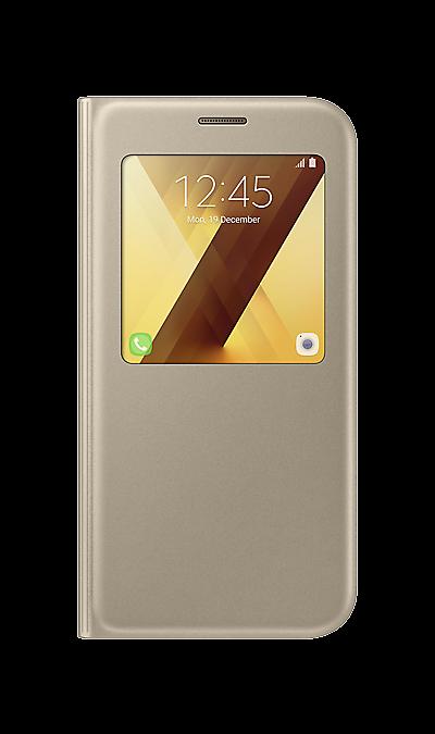 Чехол-книжка Samsung для Samsung Galaxy A7 (2017), полиуретан, золотистыйЧехлы и сумочки<br>Чехол поможет не только защитить ваш Samsung Galaxy A7 (2017) от повреждений, но и сделает обращение с ним более удобным, а сам аппарат будет выглядеть еще более элегантным.<br><br>Colour: Золотистый