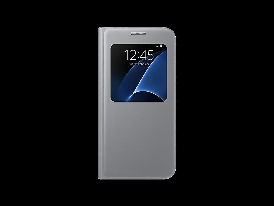 Чехол-книжка Samsung для Samsung Galaxy S7, полиуретан, серебристый