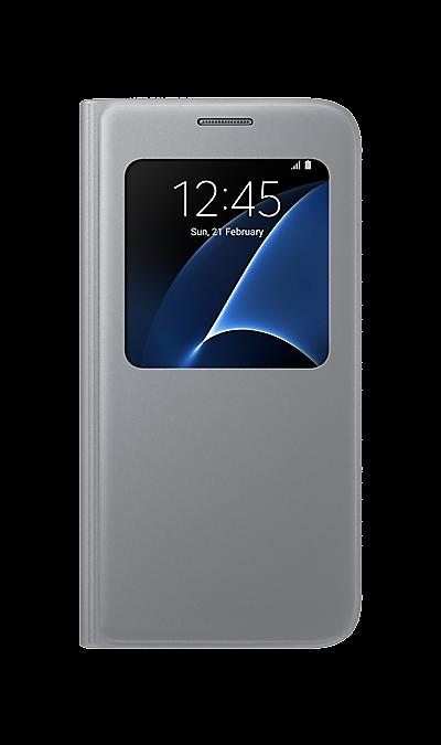 Чехол-книжка Samsung для Samsung Galaxy S7, полиуретан, серебристыйЧехлы и сумочки<br>Достойное исполнение.<br>Благодаря использованию высококачественных материалов, чехол S View Cover не только приятен на ощупь, но и достаточно надёжен, чтобы защитить ваш смартфон от повреждений.<br><br>Дополнительная защита.<br>Инновационная конструкция чехла обеспечивает дополнительную прочность для максимальной надёжности, которую вы по достоинству сможете оценить, когда в этом возникнет необходимость.<br><br>Мгновенное управление.<br>Быстро ответить на входящий ...<br><br>Colour: Серебристый